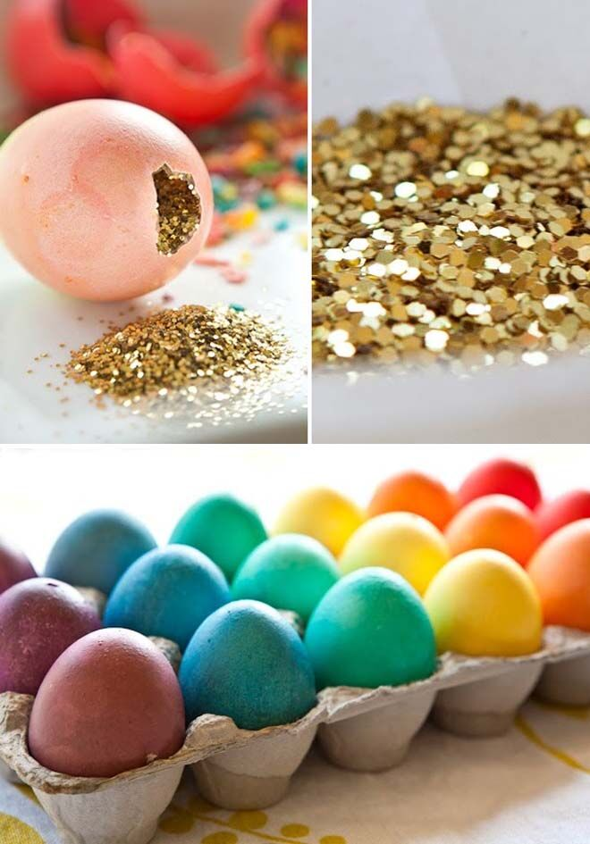 Glitter eggs for New Year's Eve with kids