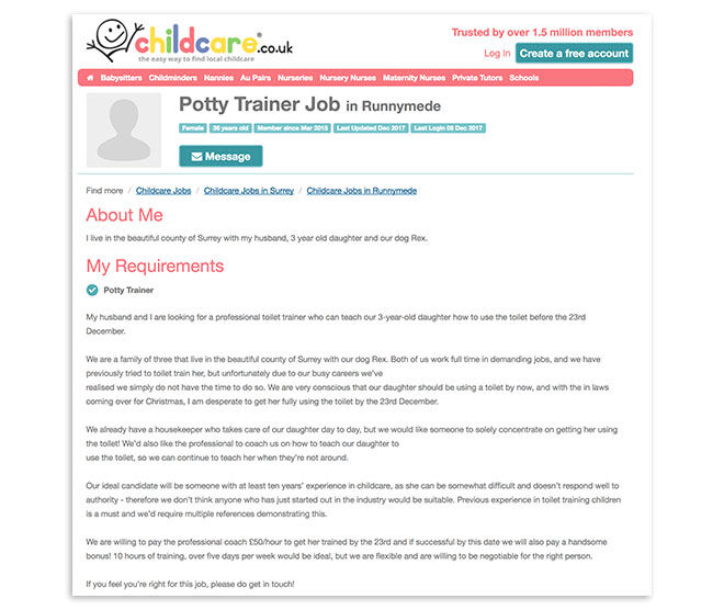 Mum pays professional potty trainer for toddler