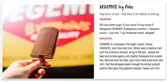Vegemite icy pole recipe