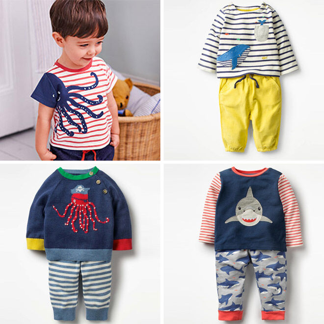 Mini Boden pirates baby playsuits
