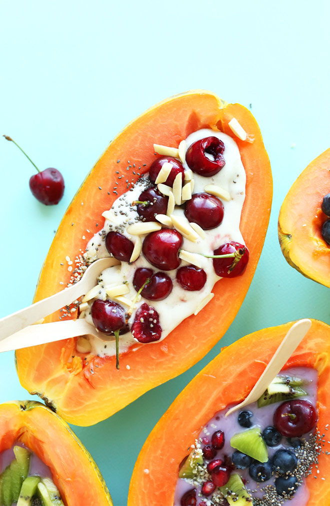 Papaya Boats with ice-cream