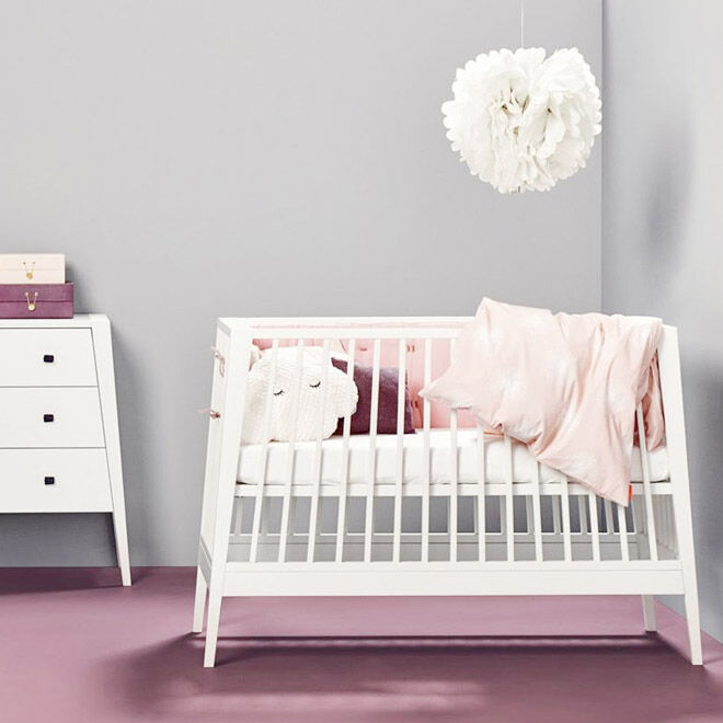 Linea Cot and Dresser, white