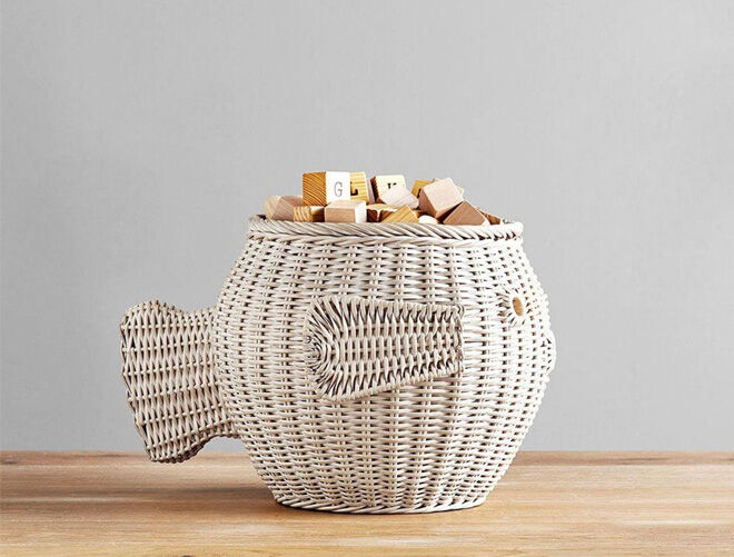 Pottery Barn Fish Basket toy storage