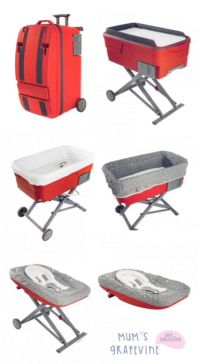 Suitcase transforms into baby bassinet, bath, rocker, seat
