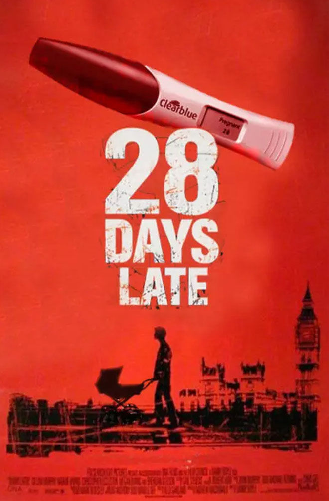 28 Days Late movie poster pregnancy announcement