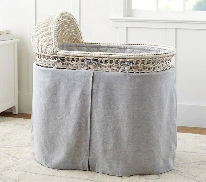 Pottery Barn kids bassinet with grey accessories