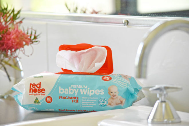 Red Nose Baby Wipes bathroom sink