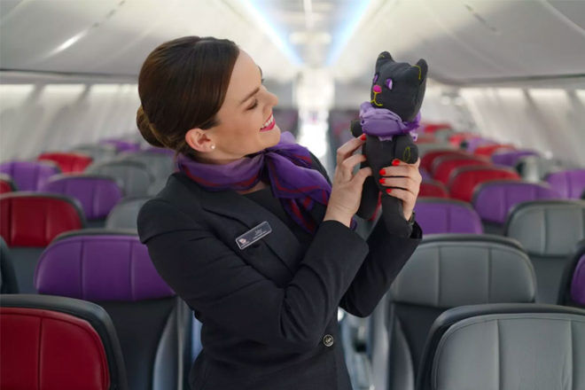 Teddy bears made from recycled Virgin Australia uniforms
