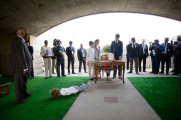 Hadrien Trudeau lying down on trip to India
