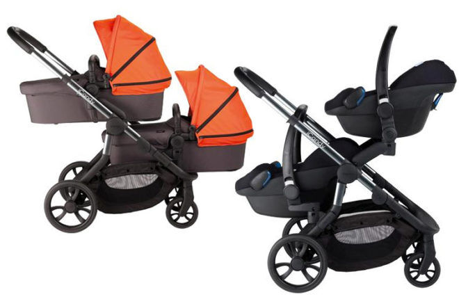 iCandy Orange double pram for twins