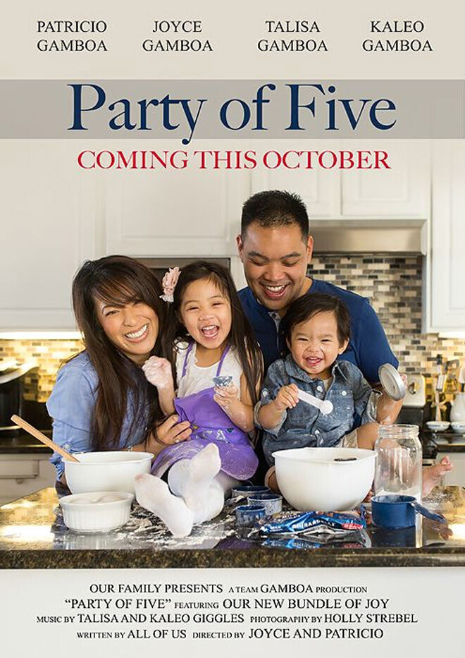 Party of Five pregnancy announcement movie poster