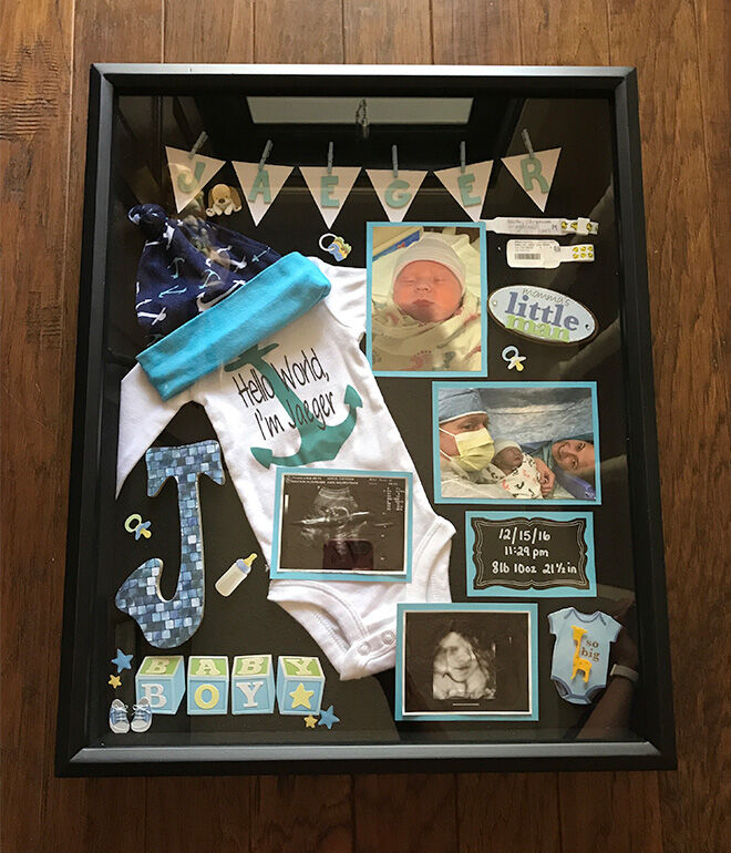 use baby ultrasound scan photo as shadow box