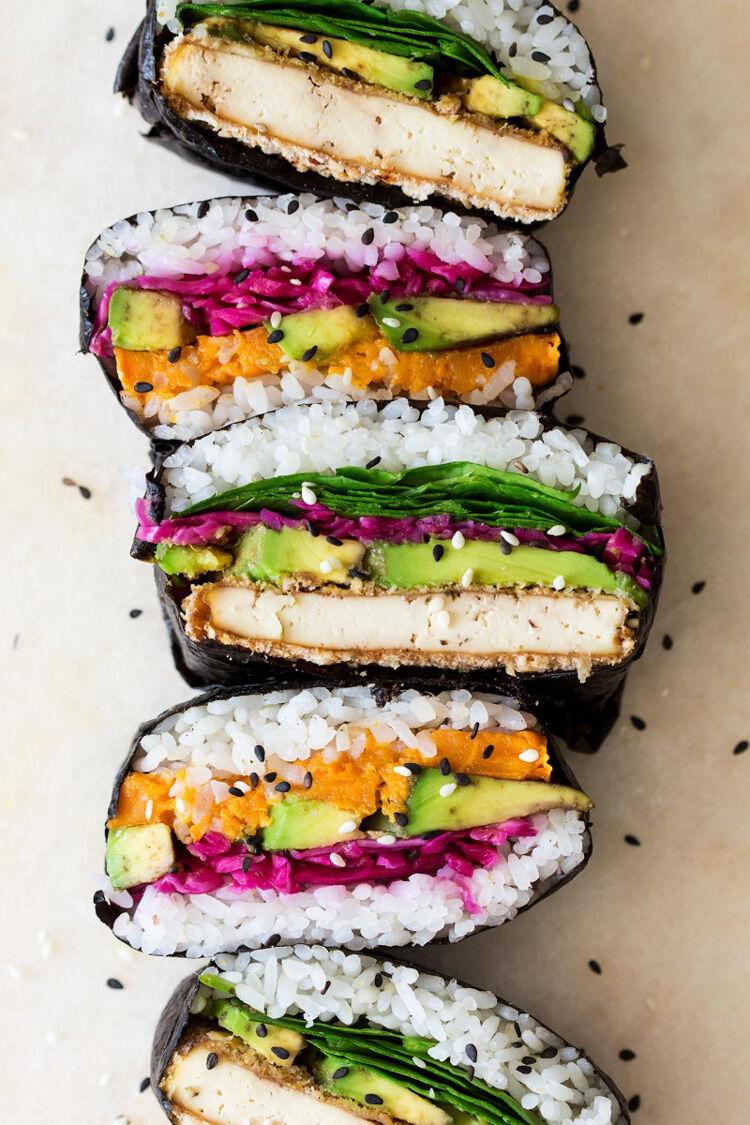 Homemade tofu sushi sandwich