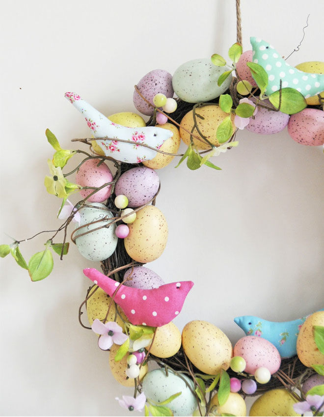 Bird Easter wreath