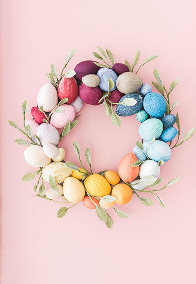 Crepe paper egg Easter wreath