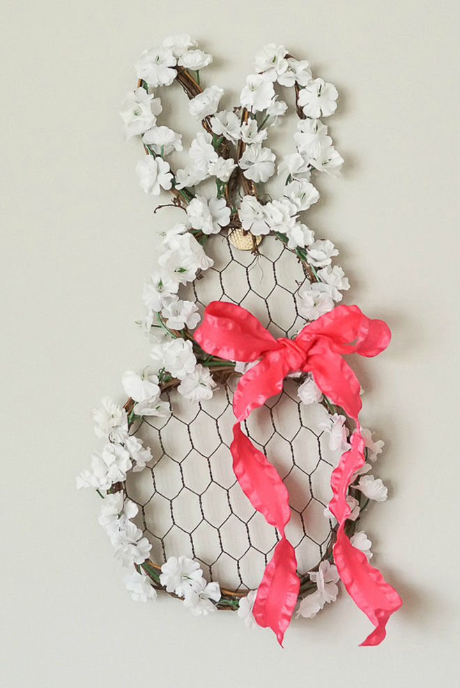 Floral bunny Easter wreath
