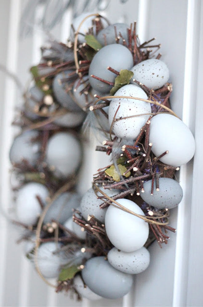 Natural twig and egg Easter wreath