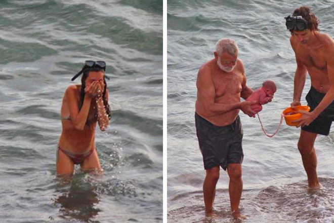 Woman gives birth in the Red Sea