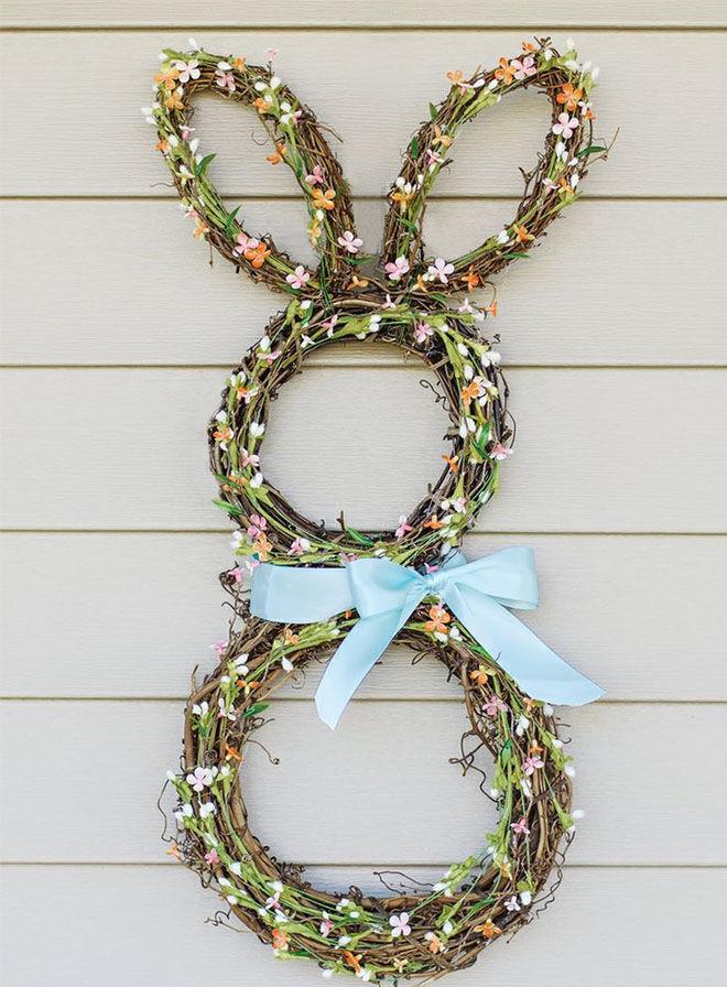 Twig bunny Easter wreath