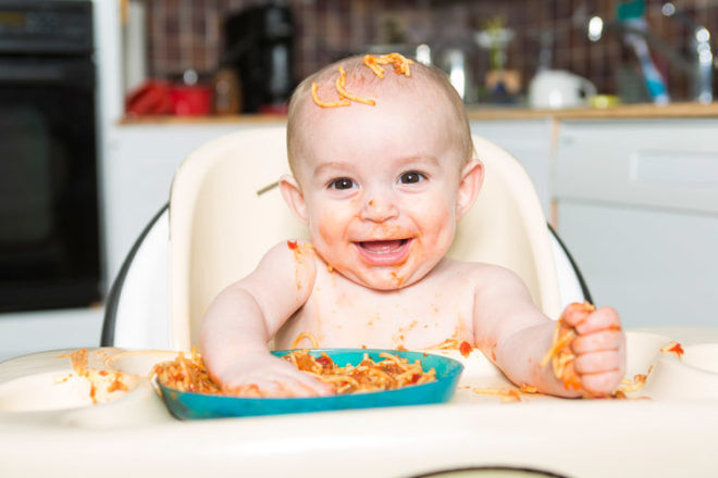 Baby Eating spaghetti with fingers