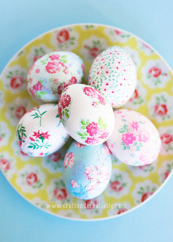 Easter Egg Decorating: decopague flower eggs