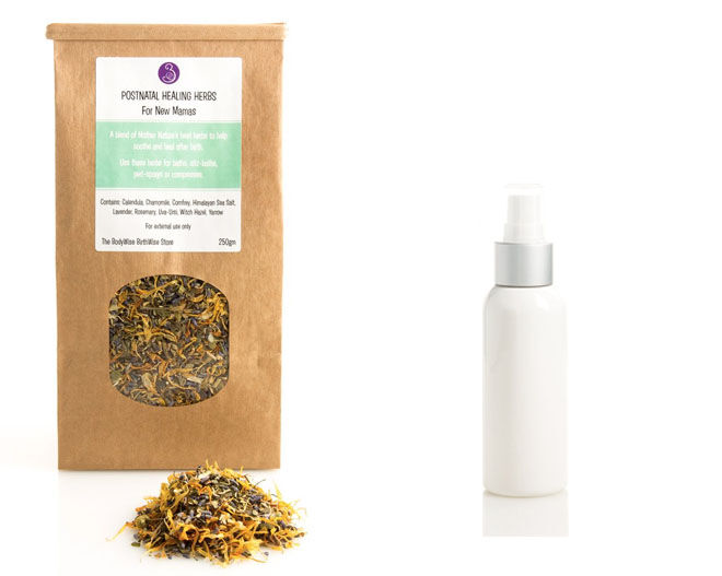 After birth peri bottle and herbs