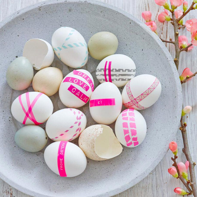 Easter Egg Decorating: neon pink Easter eggs