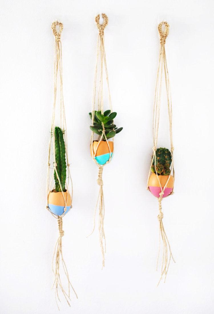 mini macrame egg planters