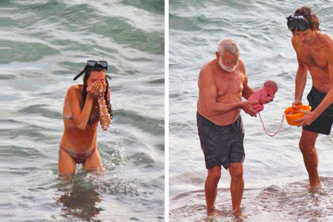 Women gives birth in the red sea
