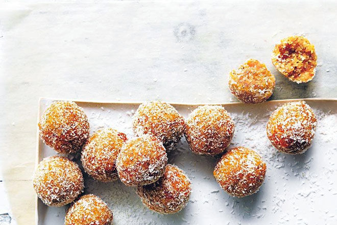 Coconut, chia and apricot bliss balls