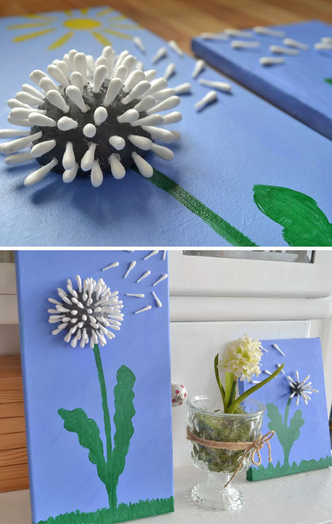 Cotton bud dandelions Mother's Day craft