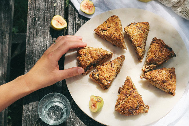 Date, lemon and coconut scones, ideal one-handed snack