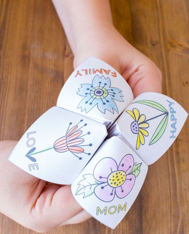 Floral fortune teller Mother's Day craft