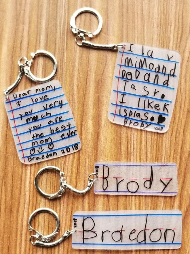 Keepsake keychains children's handwriting
