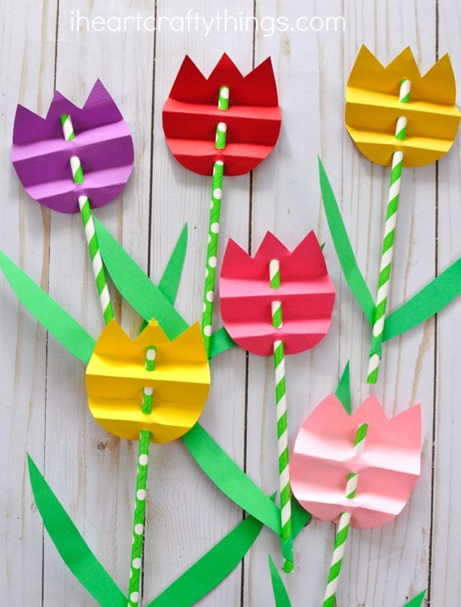 Paper Straw Tulips Mother's Day craft