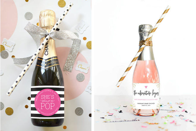 baby shower favour champagne