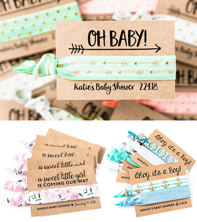 baby shower favour hair ties