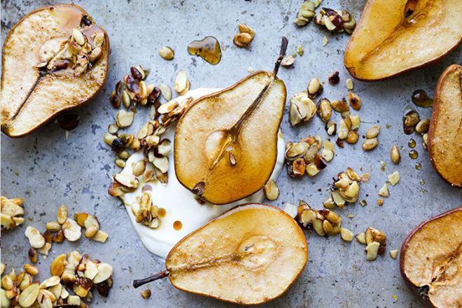 Baked Pear and Yogurt
