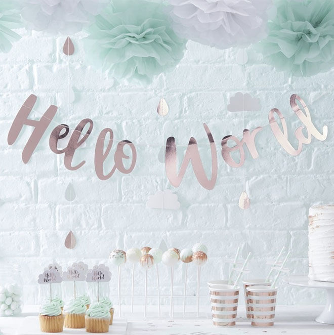 Hello World baby shower theme
