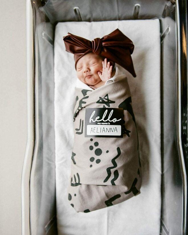 Hello Sticker Birth Announcement idea