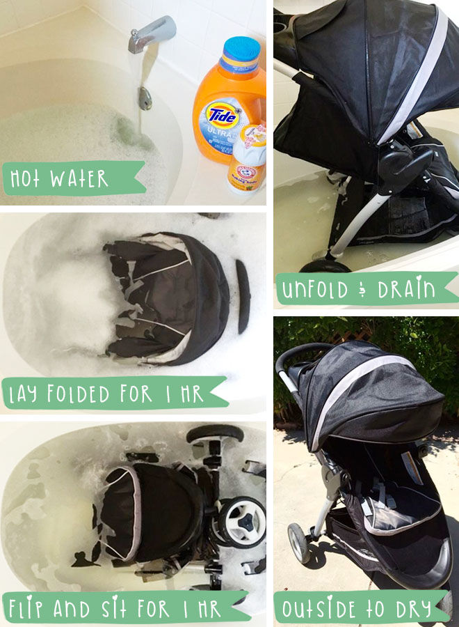 How to clean a pram in the bath