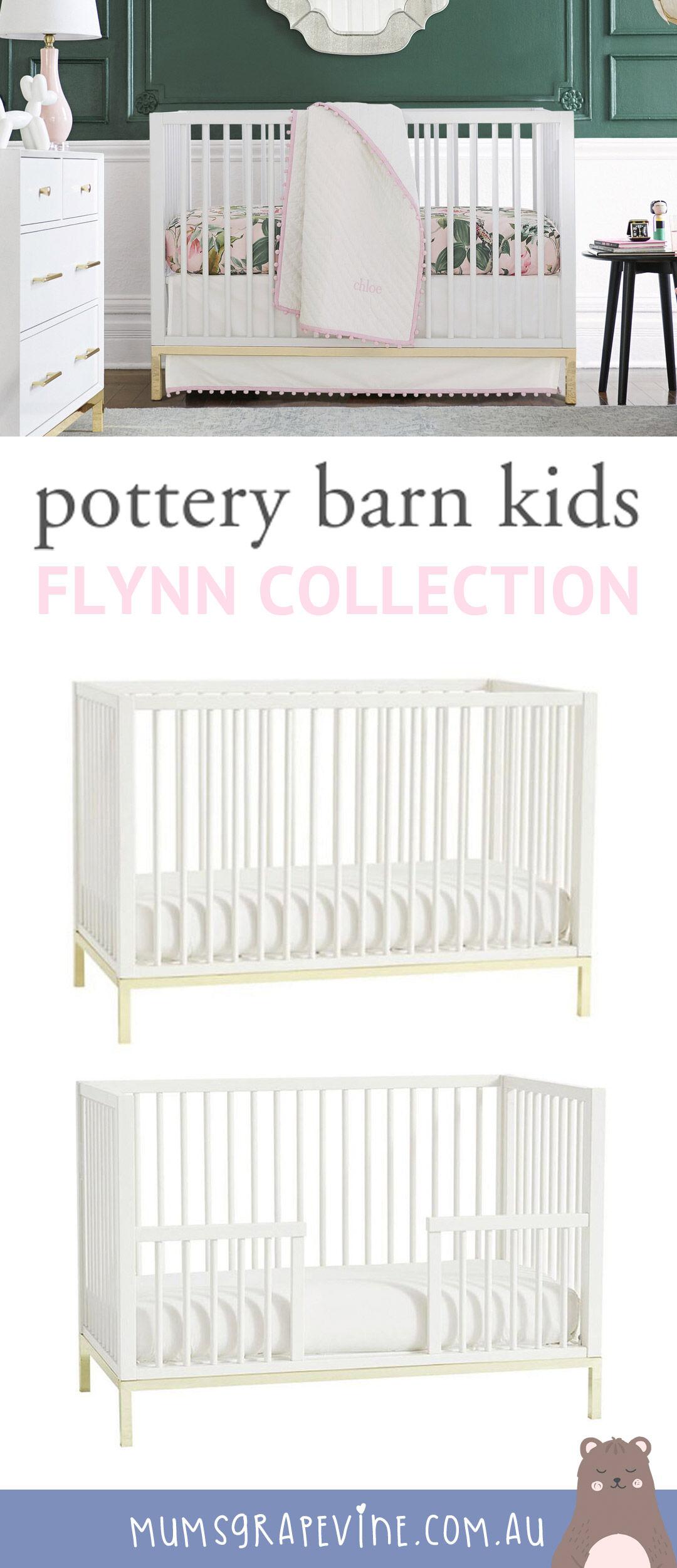 Pottery Barn Kids Flynn gold trimmed cot