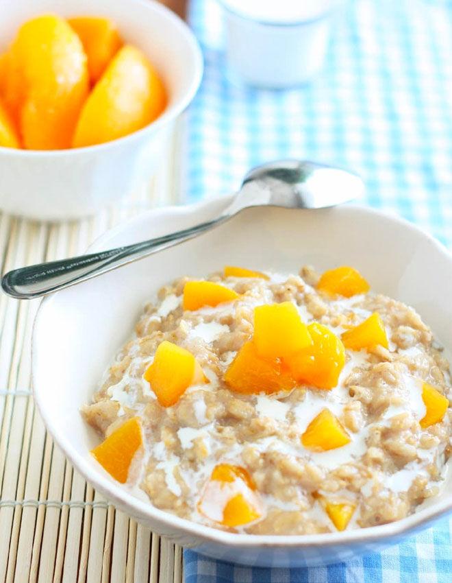 Peaches and cream porridge