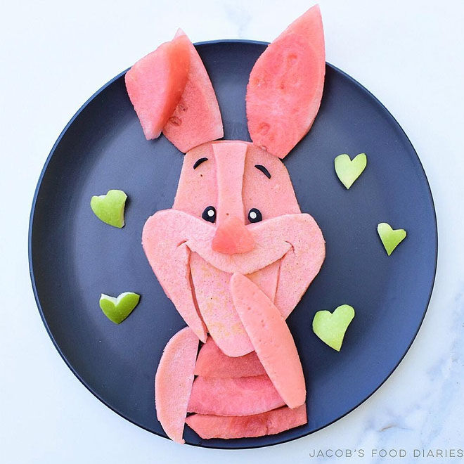 Piglet Winnie the Pooh beetroot pancakes: Jacobs Food Diary