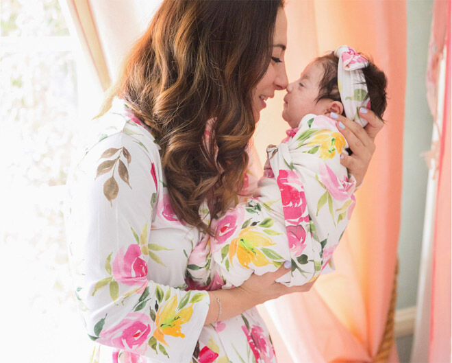 Posh Peanut matching robe and swaddle