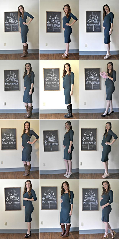 Same outfit pregnancy progression photos