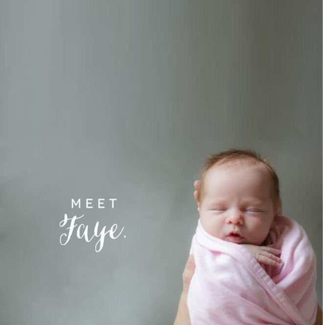 Simple words birth announcement