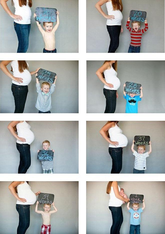 Week by week pregnancy photos with sibling
