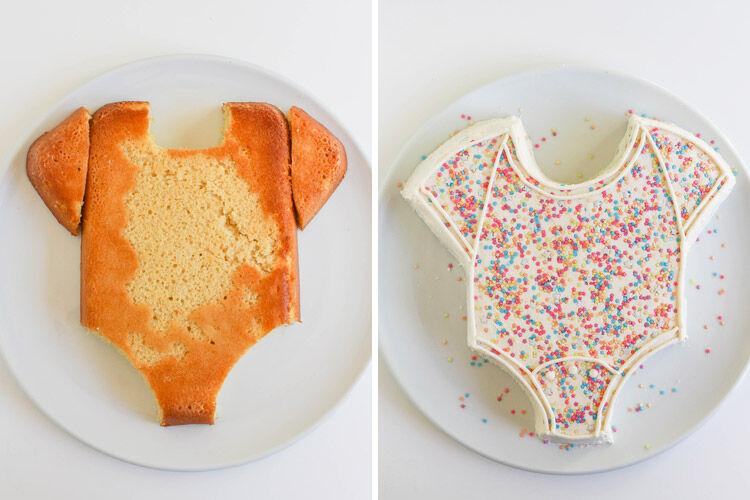 Baby onesie baby shower cake