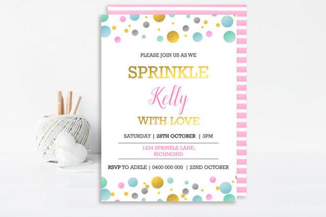 Confetti baby shower invitations